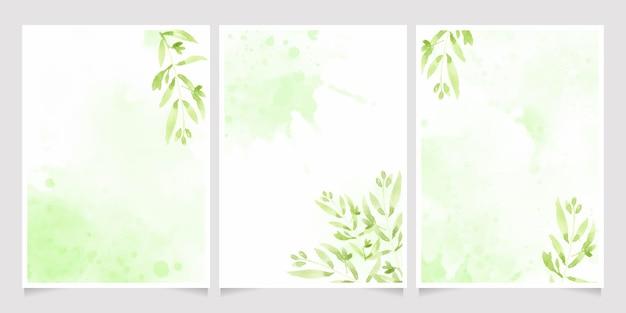 스플래시 배경 결혼식이나 생일 초대 카드 템플릿 컬렉션에 수채화 녹색 잎 프리미엄 벡터