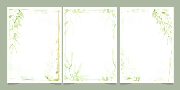 Watercolor green leaves with golden frame on splash background wedding or birthday invitation card template collection Premium Vector