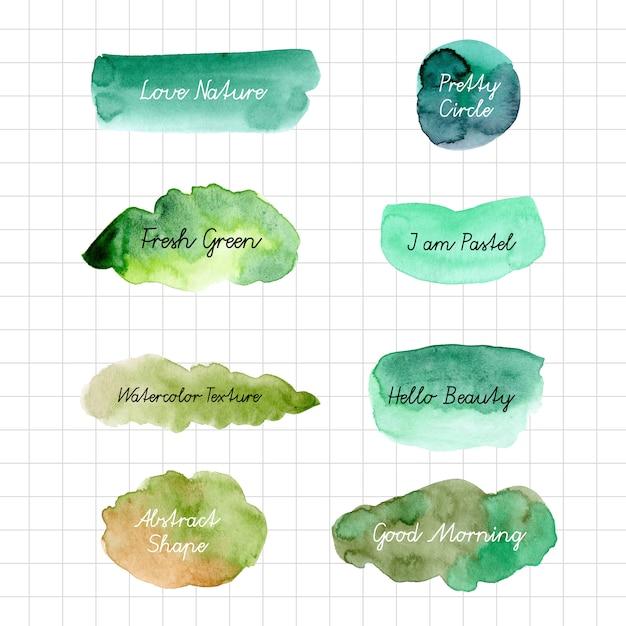 Watercolor green shape background Premium Vector