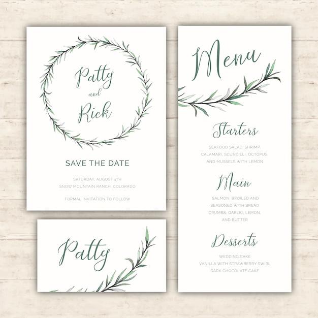 Watercolor greenery wedding pack vector free download watercolor greenery wedding pack free vector stopboris Images