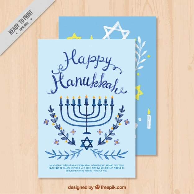 Watercolor greeting card in blue tones for hanukkah vector free watercolor greeting card in blue tones for hanukkah free vector m4hsunfo