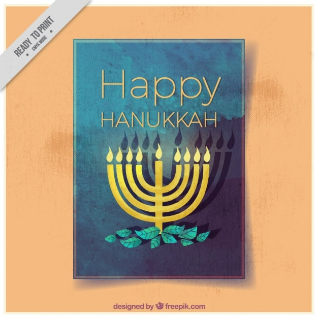 Watercolor greeting card with candelabra for hanukkah Free Vector