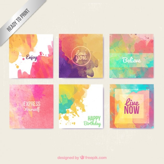 Watercolor greeting cards in colorful style Free Vector