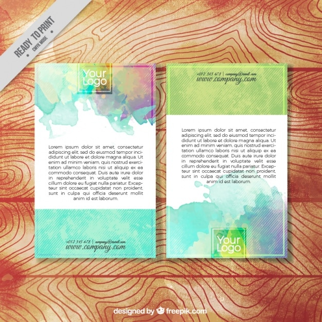 Watercolor grunge brochure