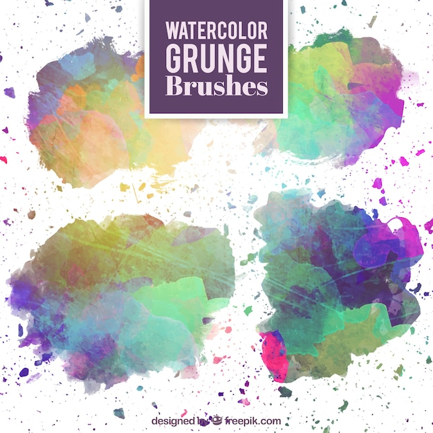 Watercolor grunge brushes Free Vector