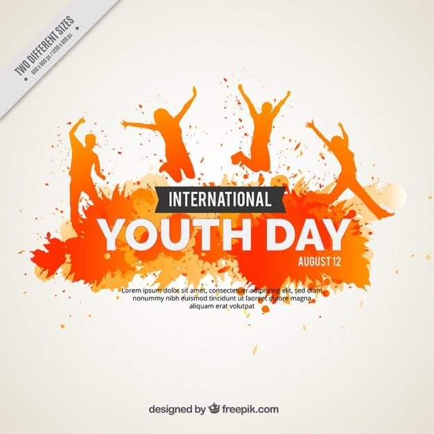 Watercolor grunge youth day background Free Vector