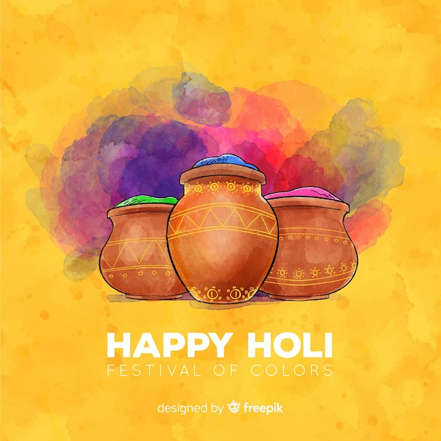Watercolor gulal holi festival background Free Vector