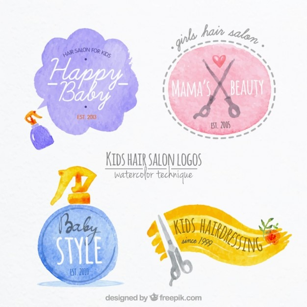 watercolor hairdressing kid logos vector premium download