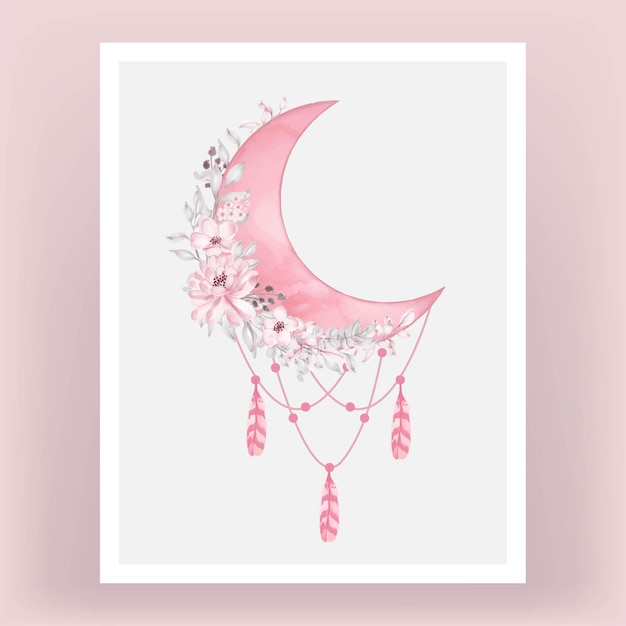 Watercolor half moon in bright pink shade with flower Free Vector