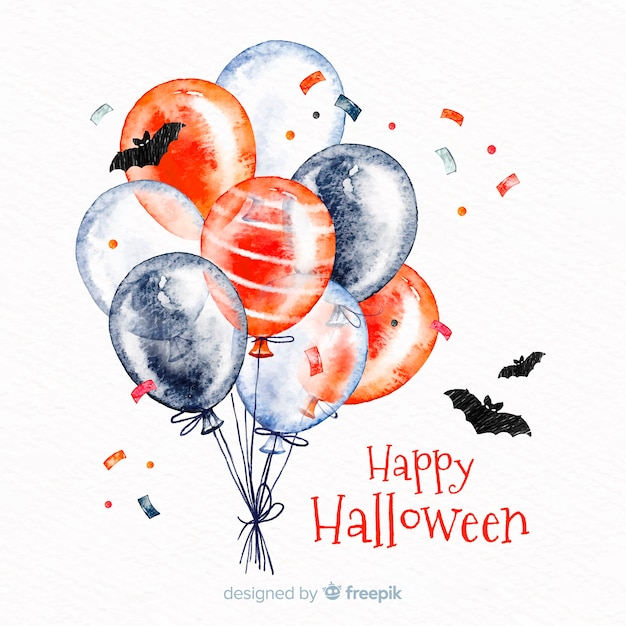 Watercolor halloween background with balloons and bats Free Vector
