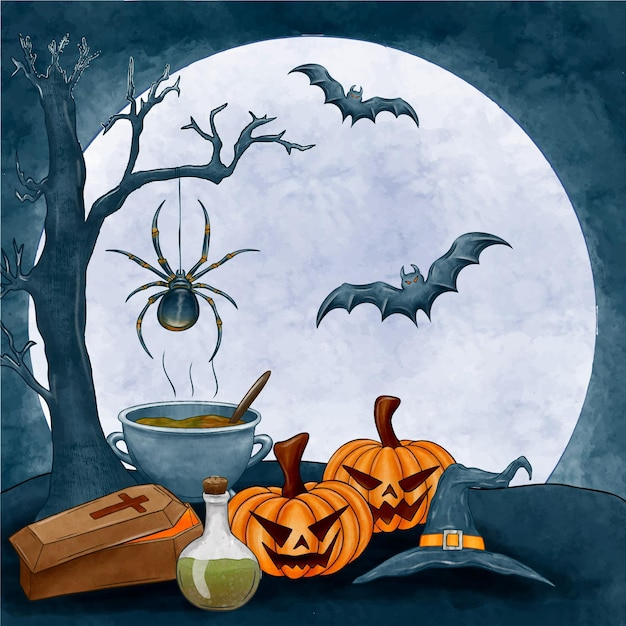 Watercolor halloween background with pumpkins and bats Free Vector