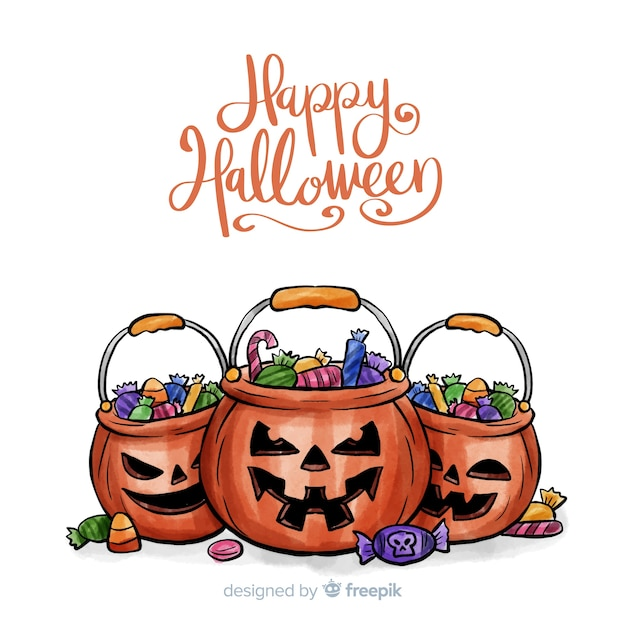 Watercolor halloween background with pumpkins and candies Free Vector