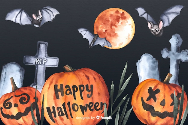 Watercolor halloween background with pumpkins and crosses Free Vector