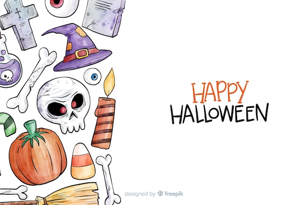 Watercolor halloween background Free Vector