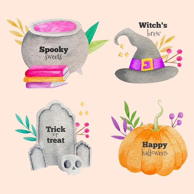 Watercolor halloween badge collection Free Vector