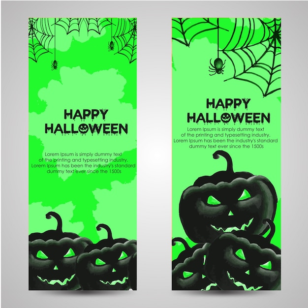 Watercolor Halloween banner