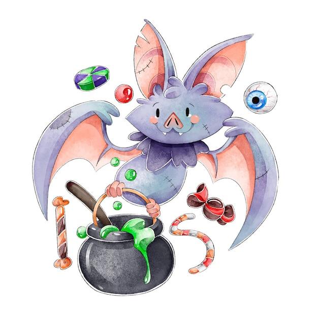 Concetto di pipistrello di halloween dell'acquerello Vettore gratuito
