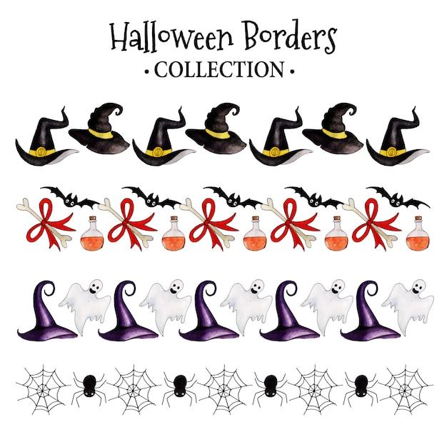 Watercolor halloween borders collection Premium Vector