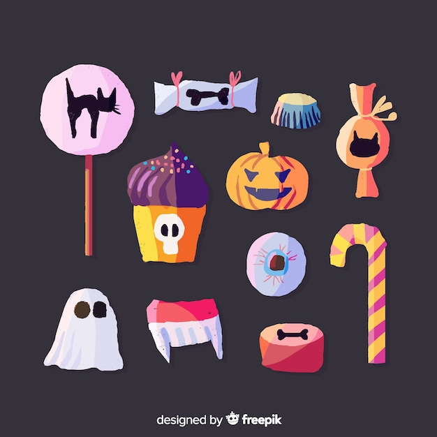 Watercolor halloween candy collection on black background Free Vector