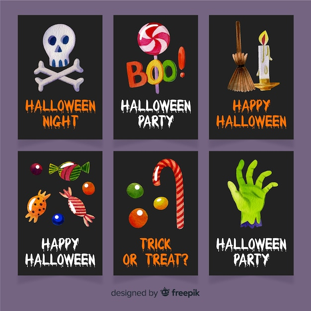 Watercolor halloween card template collection Free Vector