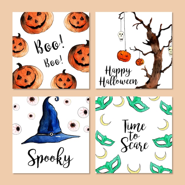 Watercolor halloween cards collection Premium Vector
