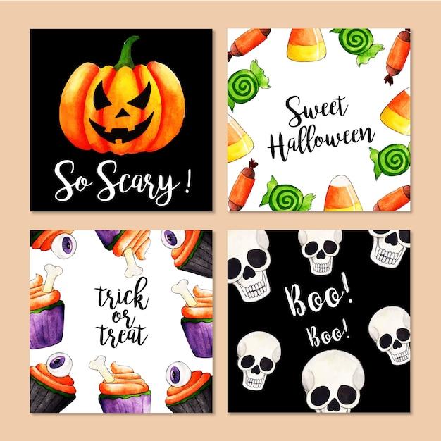 Watercolor halloween cards collection Premium Vector