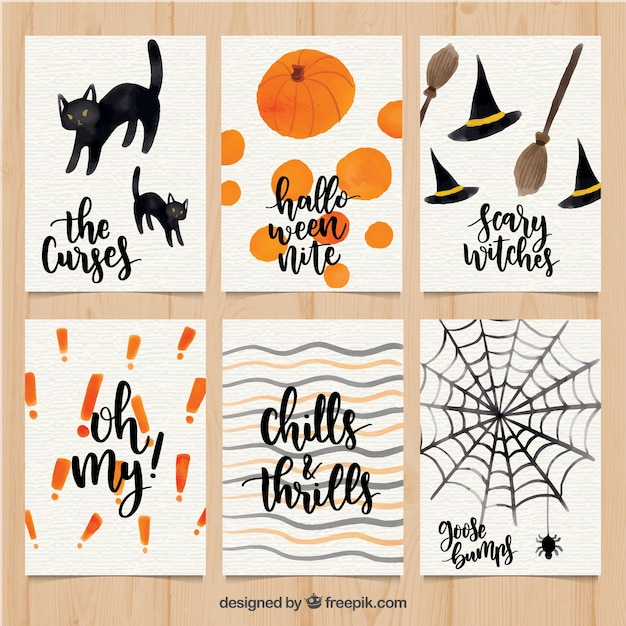 Watercolor halloween cards with cute style Vector | Free Download