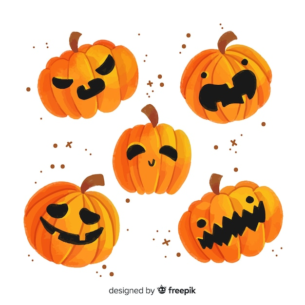 Watercolor halloween carved pumpkin collection Free Vector