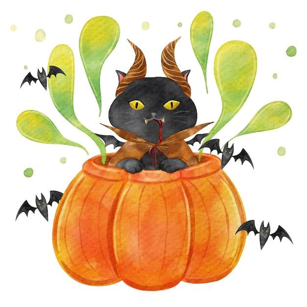 수채화 할로윈 고양이 그림 프리미엄 벡터