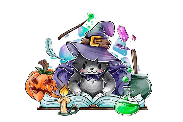 Gatto di halloween dell'acquerello Vettore gratuito