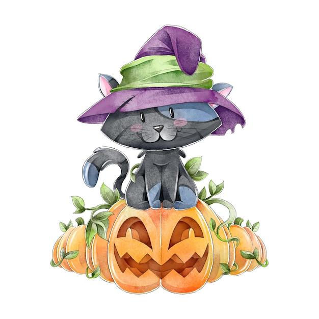 Акварель хэллоуин кошка Бесплатные векторы