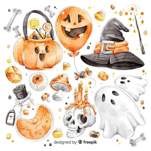 Watercolor halloween cute element collection Free Vector