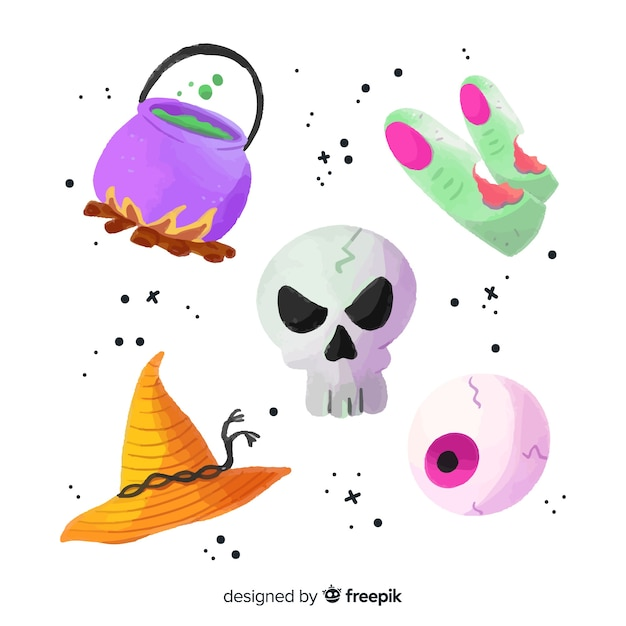 Watercolor halloween element collection Free Vector