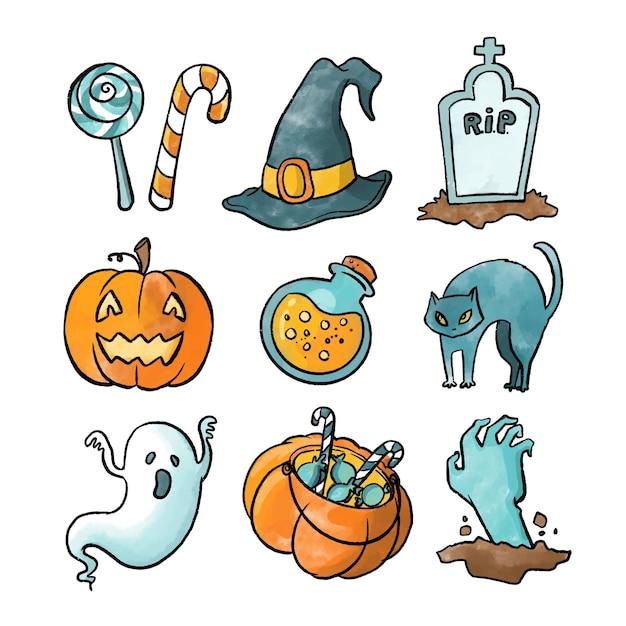 Collezione di elementi ad acquerello di halloween Vettore gratuito
