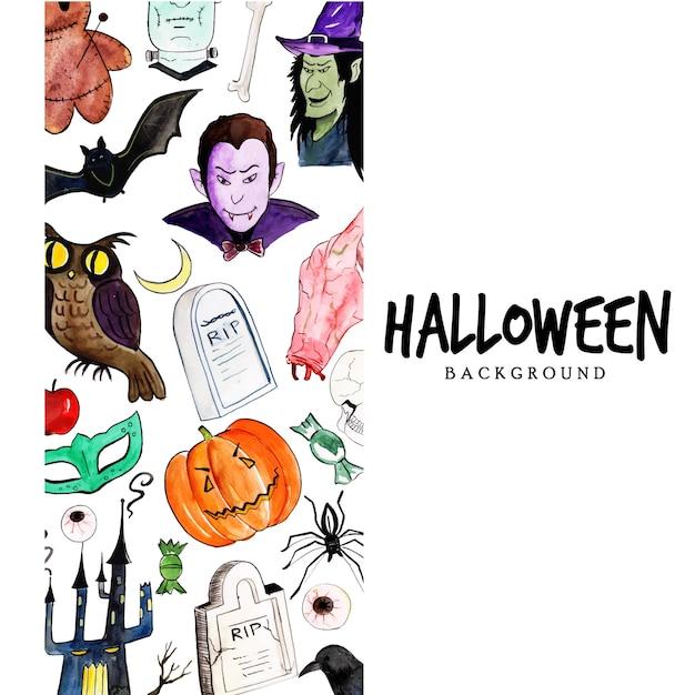 Watercolor halloween elements background Premium Vector
