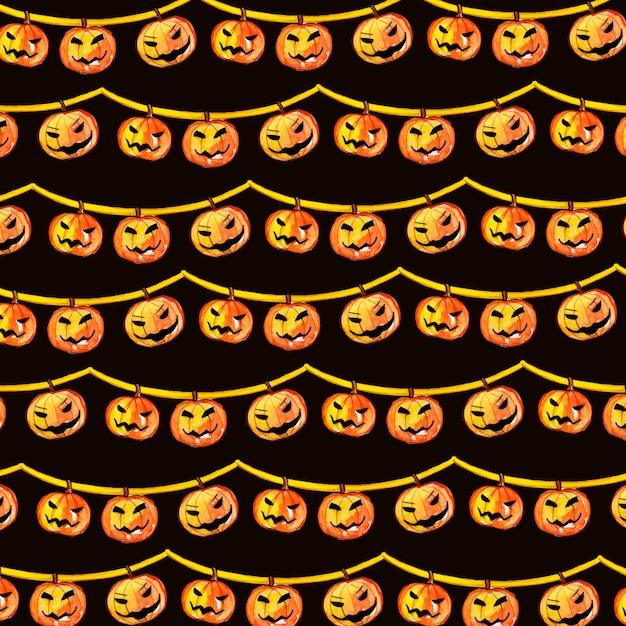Watercolor halloween elements pattern background Premium Vector