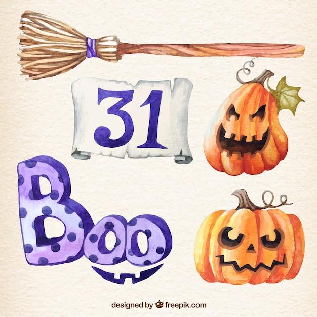 Watercolor halloween elements Vector   Free Download