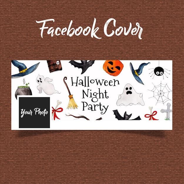 Watercolor halloween facebook cover Premium Vector