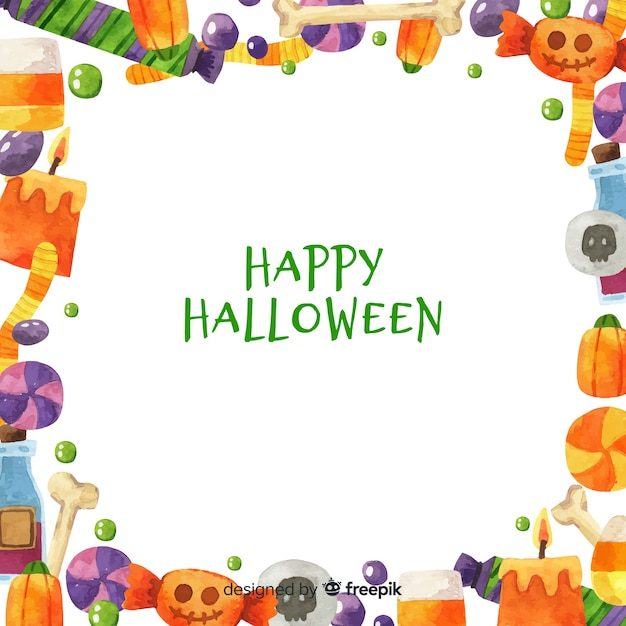 Watercolor halloween frame background Free Vector