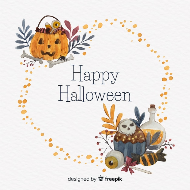 Watercolor halloween frame with pumpkin Free Vector