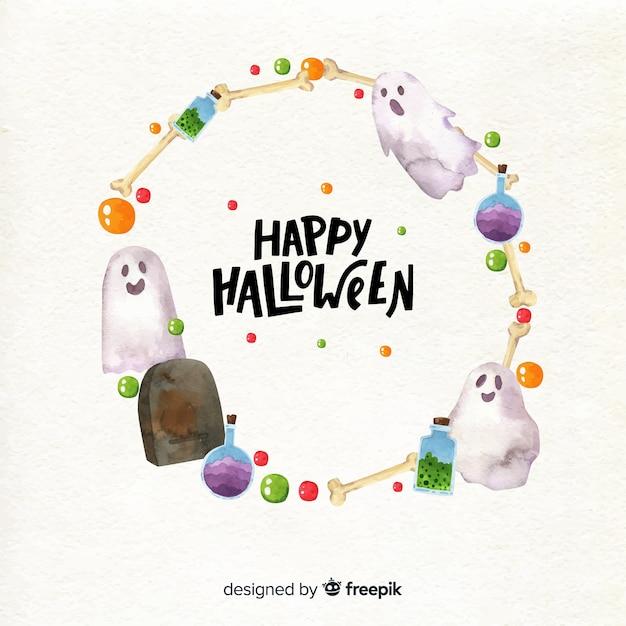 Watercolor halloween frame Free Vector