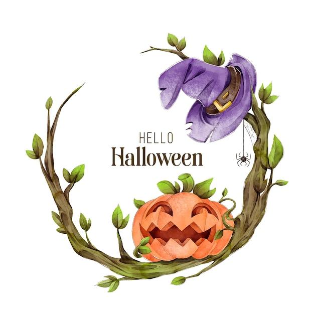Cornice di halloween dell'acquerello Vettore gratuito