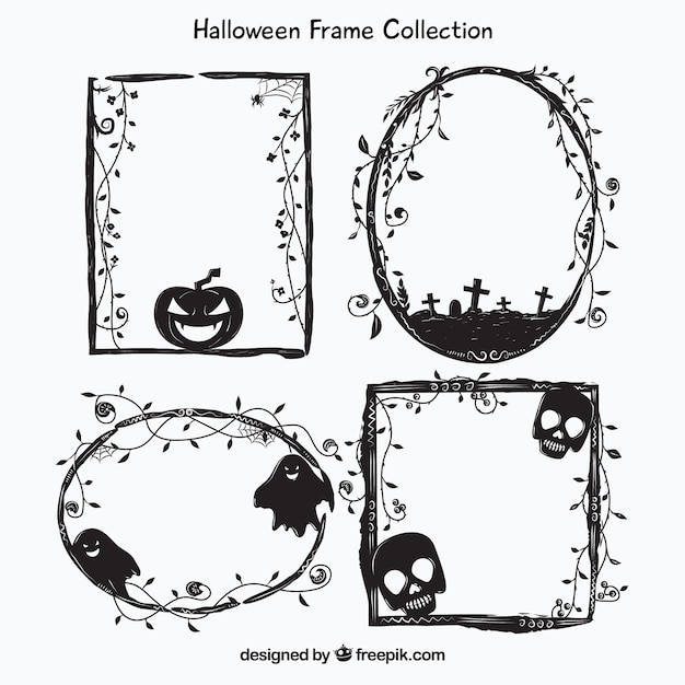 Watercolor halloween frames set Vector | Free Download