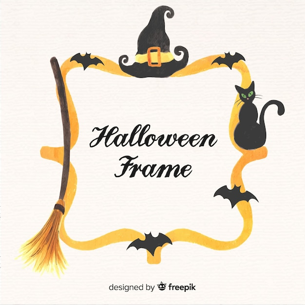 Watercolor halloween gold frame background  Free Vector