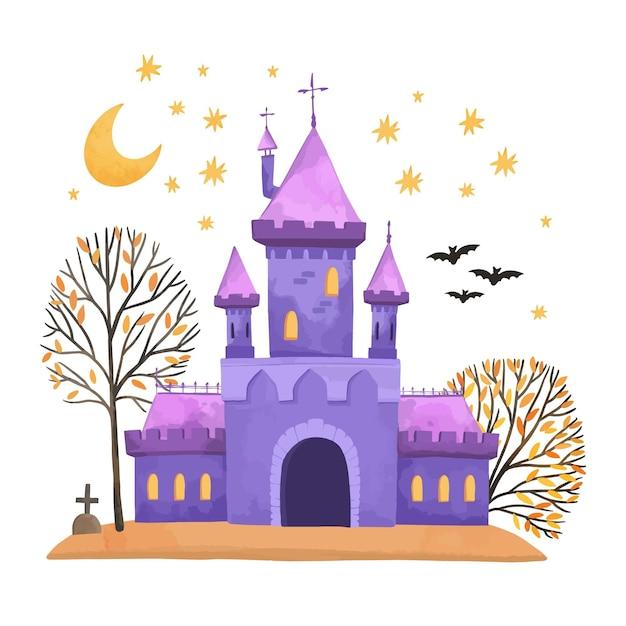 Акварельный дом на хэллоуин Бесплатные векторы