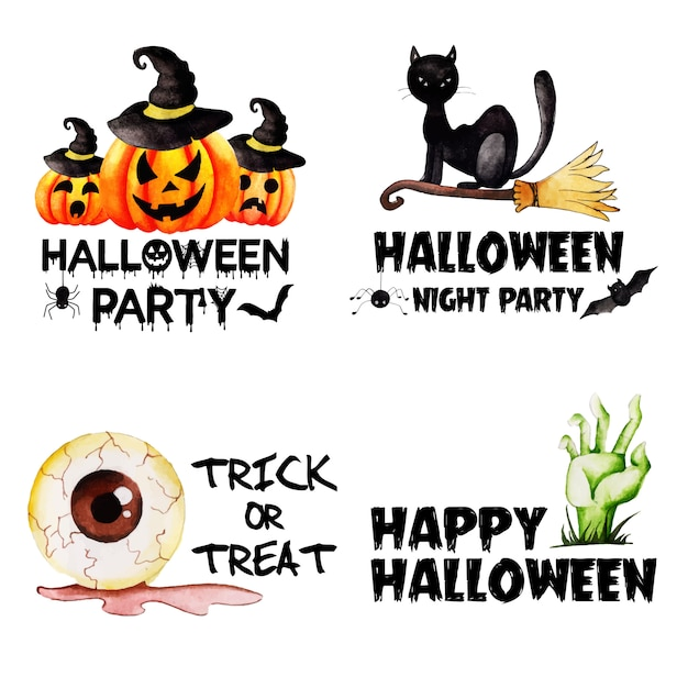 Watercolor halloween labels collection Premium Vector