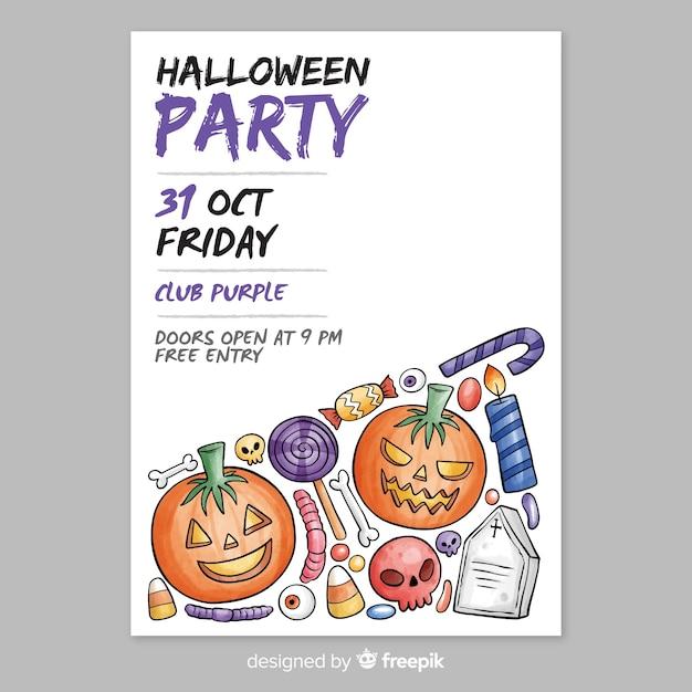 Watercolor halloween party flyer template Free Vector