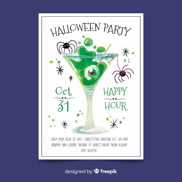 Watercolor halloween party poster template Free Vector
