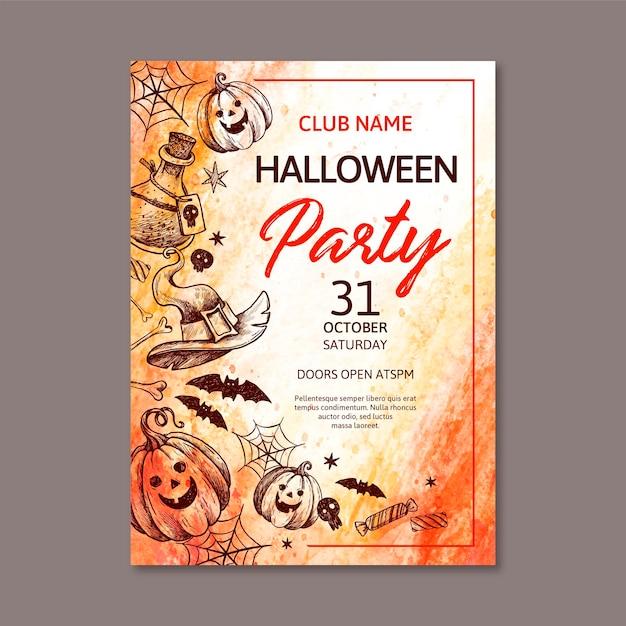 Modello del manifesto dell'acquerello festa di halloween Vettore gratuito