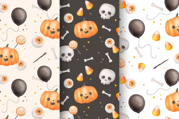 Акварель хэллоуин шаблон коллекции тема Бесплатные векторы